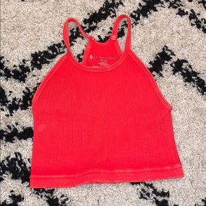 free people movement red cropped tank